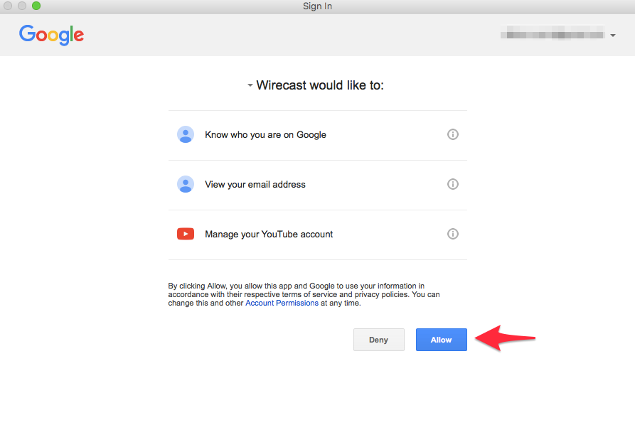allow wirecast to access youtube account