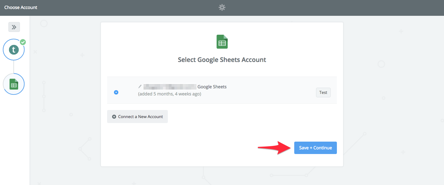 choose google sheets account