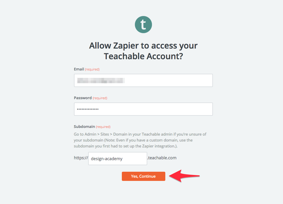 allow zapier access to teachable account