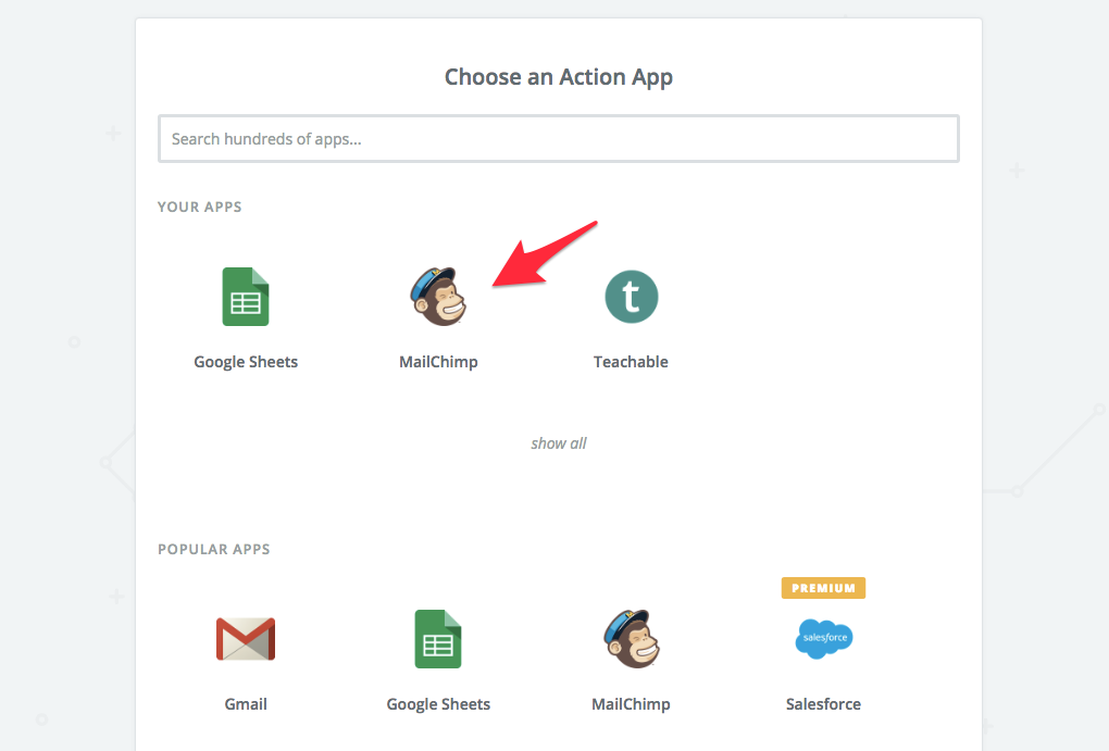 select mailchimp as action app