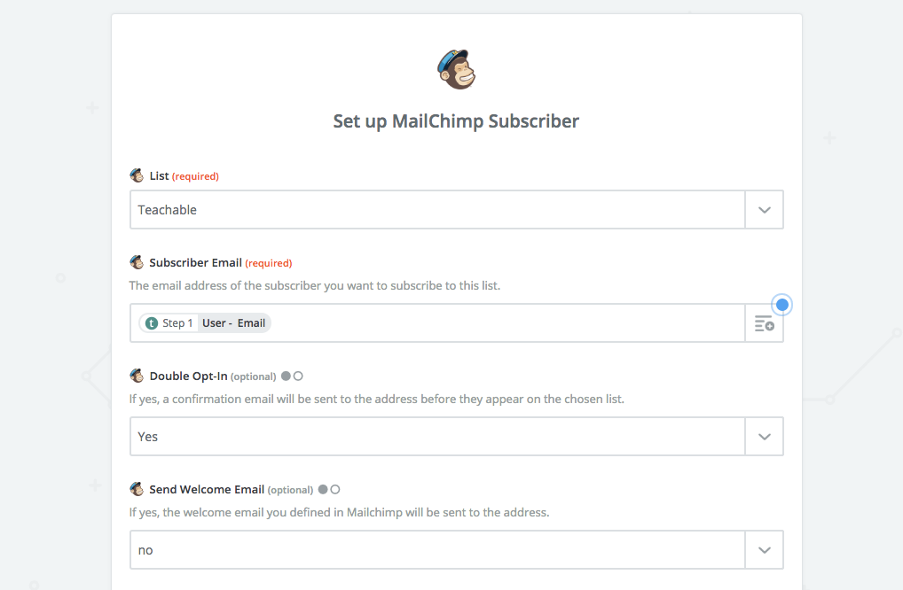set up mailchimp subscriber