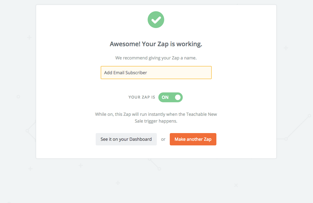 finished mailchimp zap