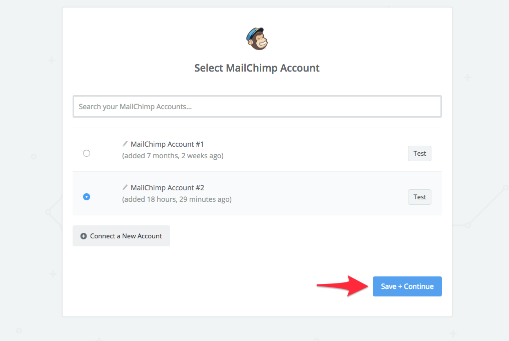 select mailchimp account