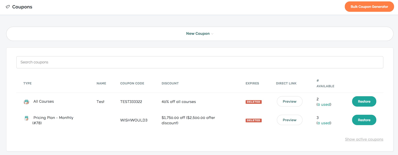 create coupons teachable
