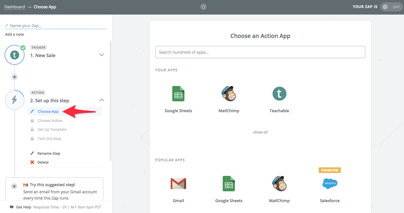choose action app