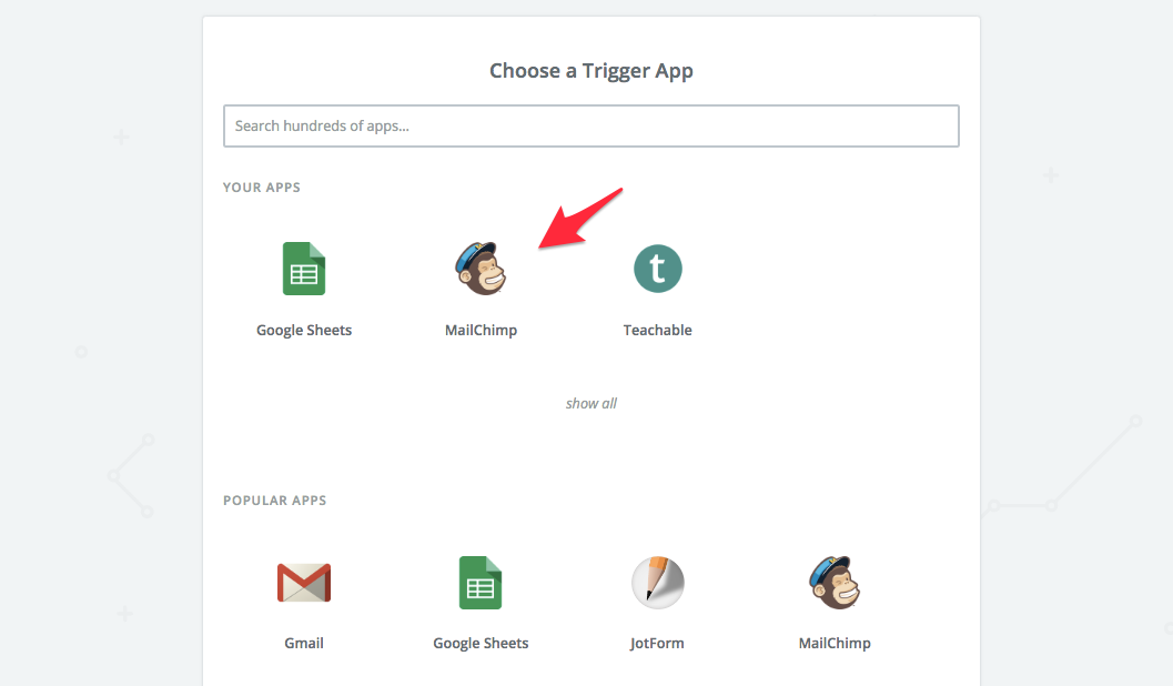 select mailchimp as trigger app