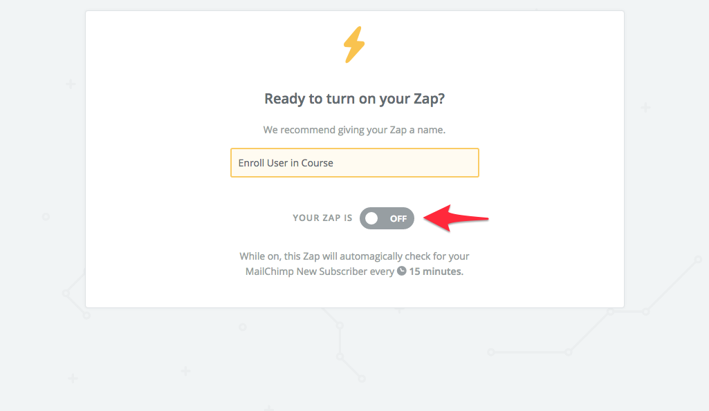 turn on teachable enroll user zap
