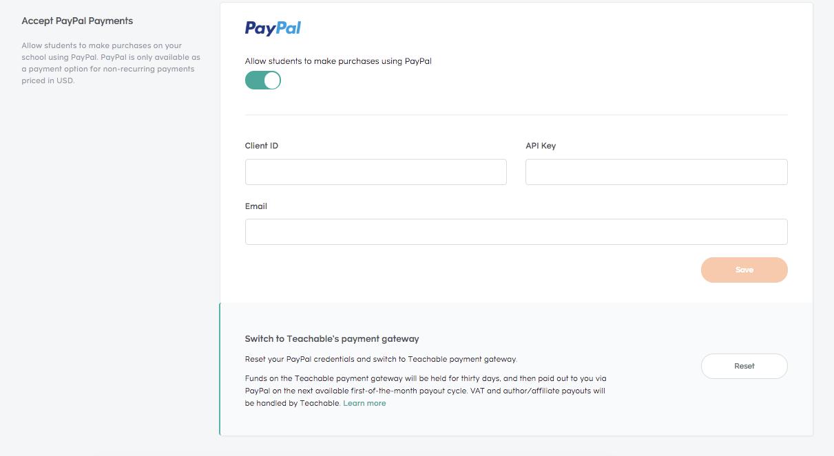 Custom Payment Gateways – Teachable