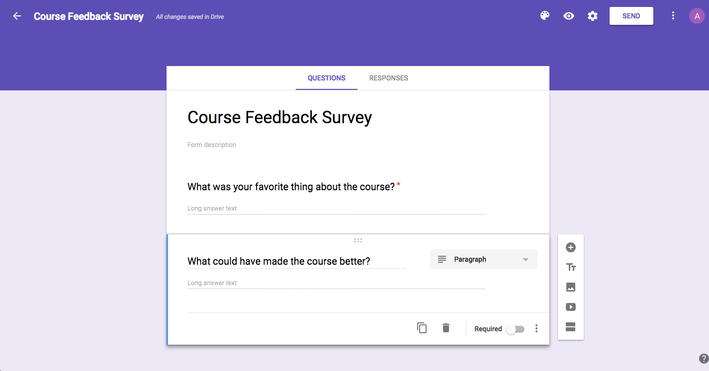 google forms survey example