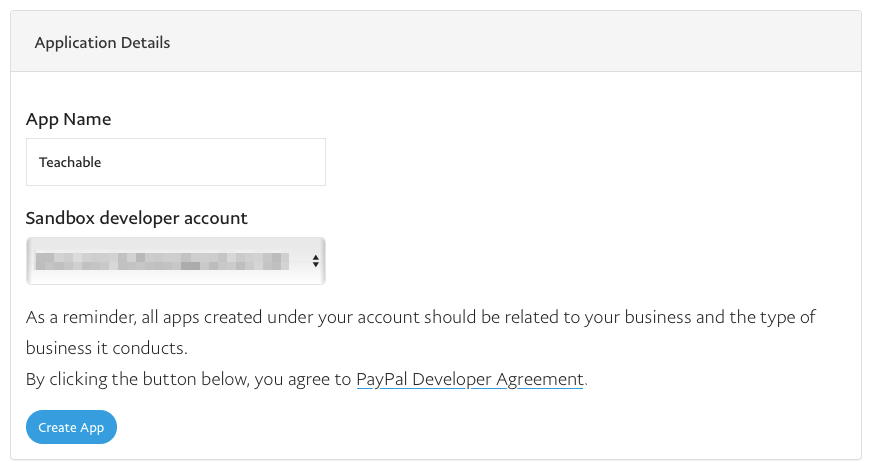 paypal application details
