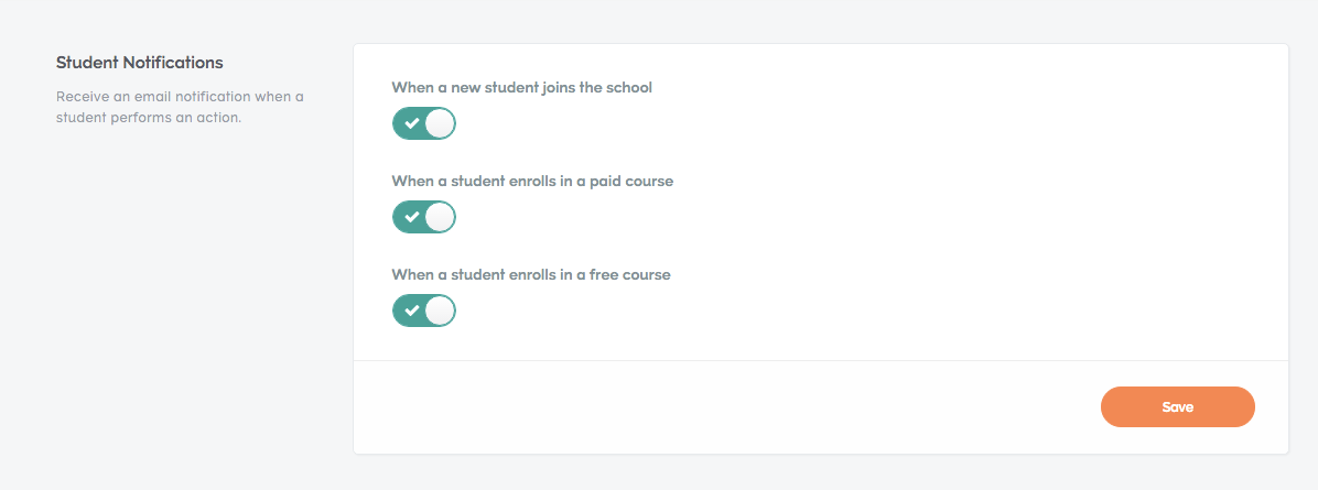 student notifications